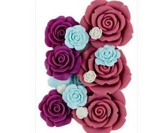 Set of 20 beautiful pink resin 1 to 4 cm.