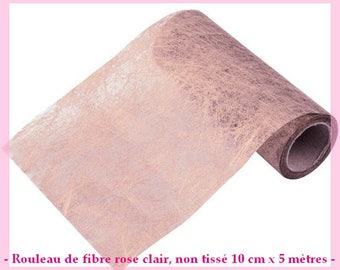 Roll of light pink non woven fibre - 10 cm wide x 5 m - new