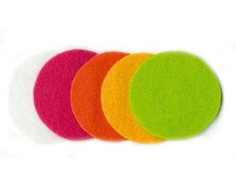 Set of 25 small round end 5 cm, in 5 colors POP - ARTEMIO felt