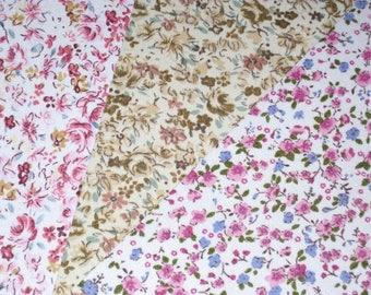 Set of 3 coupons fabric adhesive mini-fleurs No. 4, 15x20cm