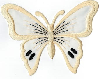 Coat ecru Butterfly embroidered iron or sew. Applique Patch 13 x 9.5 cm