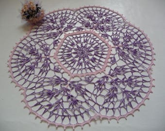 Large doily handmade crochet purple gradient and pastel pink cotton.