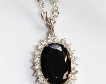 Black crystal and rhinestone Oval Pendant