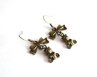 Bronze bow and bear earrings