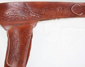 Holster belt wertern tooled oak leaf