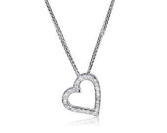 Heart Pendant Brocaded Diamonds, 14K - 18K Gold + 0.25 Ct