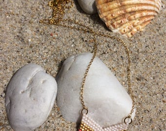 Gold plated necklace with hand woven chevron