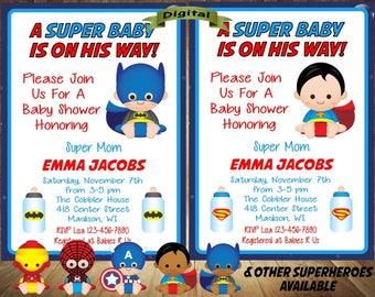 Superhero Baby Shower Invitation, Superhero Baby Shower, Superman Baby  Shower Invitation, Superheroes Baby