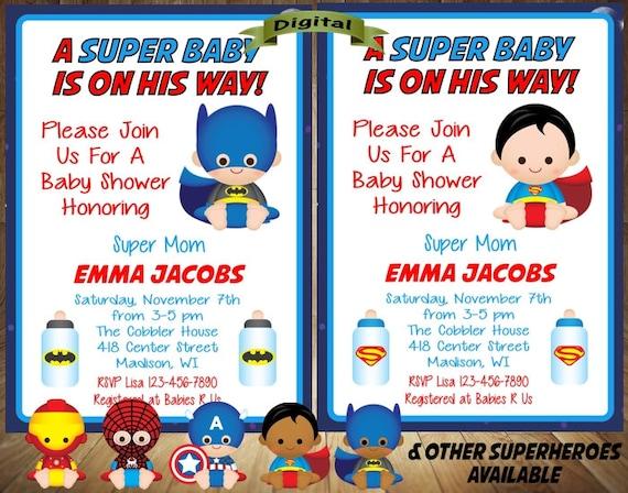 Superhero Baby Shower Invitation Superhero Baby Shower