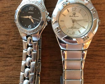 Sieko/Charles Raymond ladies quartz watches (2) both new batterys silvertone stainless steel bracelets both for