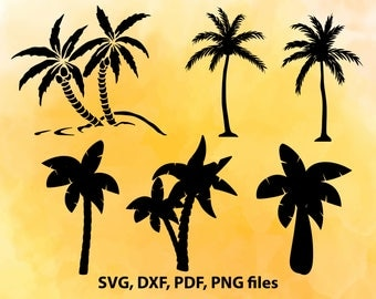 Palm SVG File, Palm tree DXF, Palm Cut File, Coconut tree PNG, Palm Cricut, Palm tree Silhouette, Vector art, Tropical tree cutting file