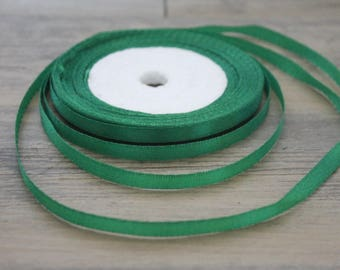 20 m of 6mm dark green colored satin ribbon