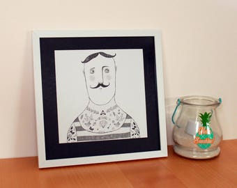 Tattooed man picture frame