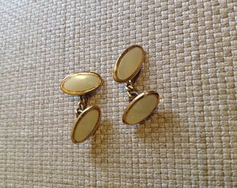 Cufflinks, vintage, gold and mother of pearl