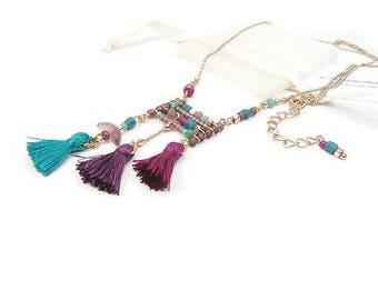 Necklace colors pop pink gold tassel
