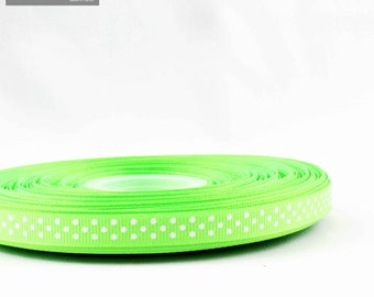 10 mm white polka dots pattern green grosgrain Ribbon sold by the meter
