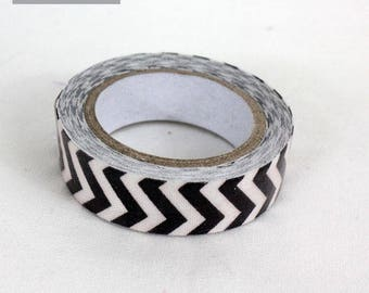 masking tape 15 mm black chevron cotton