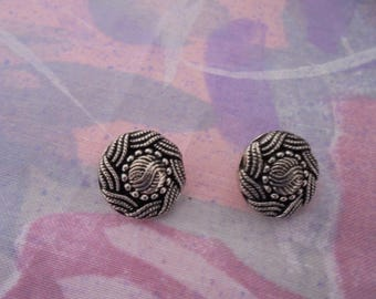 Set of 2 Vintage silver plated 15 mm buttons