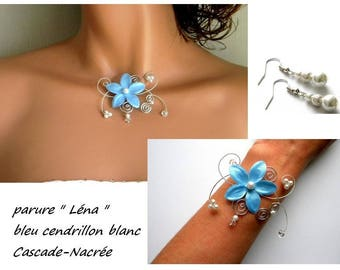 Lena blue flower jewelry set white Crystal bridal wedding Pearl Silver Aluminum
