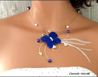 wedding flower Rivindu dark purple feather Ivory Pearl silver wedding necklace