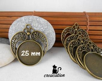 5 fring cabochon 25mm, bronze