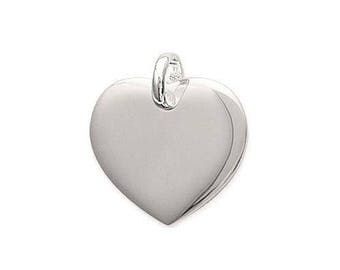 Pendant heart engraved personalize sterling silver 20 mm