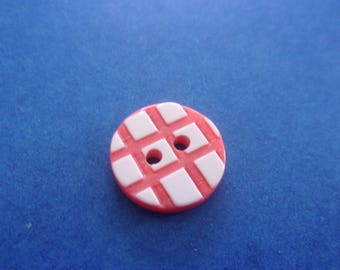 Set of 2 round buttons red and white pattern grid, acrylic, 2 holes - 15 mm
