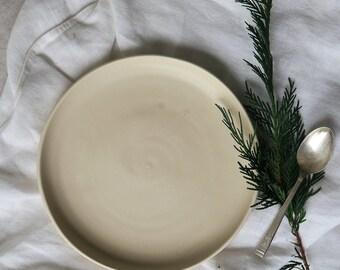 Stone side plate - satin matt cream plate - hand made pottery - small plate - stoneware - hand thrown plate - tableware - dinnerset