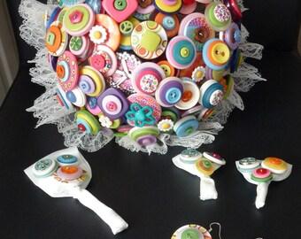 Hippie theme button bridal bouquet