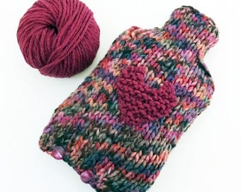 Hot Water bottle and cover - handknitted - gift idea