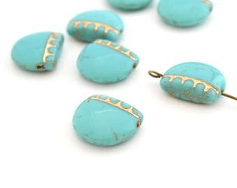 1 Pearl width half circle turquoise and gold 14x17mm Czech glass