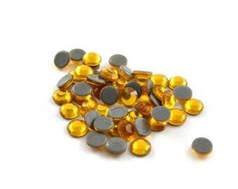 50 orange yellow hot fix rhinestones 4mm round