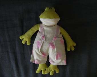 Frog green Tilda in green pants with flowers