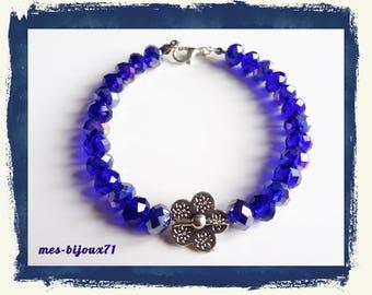 Glass faceted bead bracelet - flower bracelet - navy blue jewelry