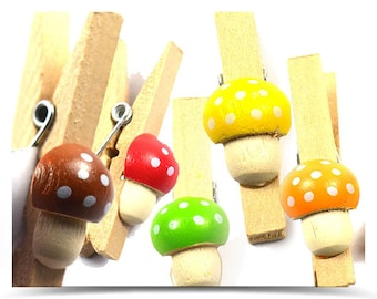 Small Mini Clothes Pegs Mushroom | Clothes Pins wooden | resin mushroom blue, brown, orange, yellow, green, red  | Clip fastener tether