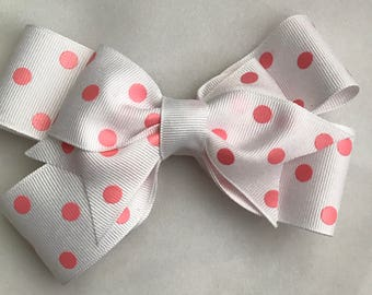 White and pink boutique bow
