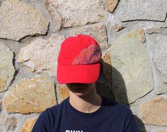 Hand Embroided Red Baseball Hat