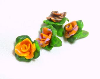 Mini-cabochons roses and leaves set of 4