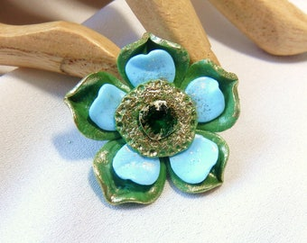 Blue and green flower cabochon * Stardust * N ° 3