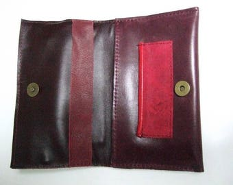 Tobacco pouch Burgundy leather