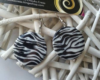 """Jewelry fancy """"Effects ZEBRAS"""" tinted black and white earrings"""