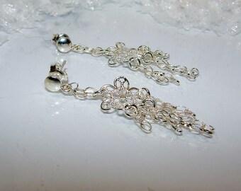 Earrings openwork Sterling Silver 925/thousand flowers. (4557679)