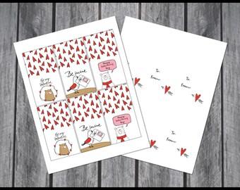 Printable Valentine's Day Cards | Valentine's Day cards | Animal Valentine's Day Cards | Cute Classroom Valentine's Card Set