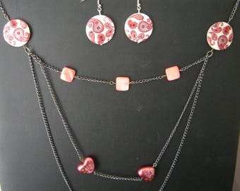 Necklace and Earring Set silver black earrings