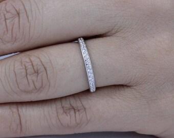 925 Sterling Silver Skinny Half Eternity Wedding Band Ring Women Size 3-11.5 SS824