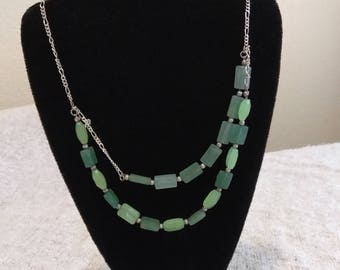 necklace,  green beads and sterling silver