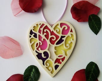 Thousand colors stained wooden heart