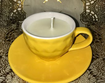 Orange Scented Candle in a Yellow TeaCup with Saucer