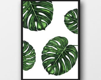 Botanical leaf A4 print - Monstera Leaf Wall Print, Tropical Print, Home Decor, Plant Leaf Print