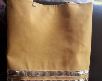 Mustard and gold bag with glitter